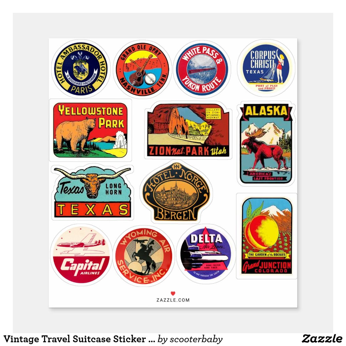 Vintage Travel Suitcase Sticker Luggage Decal Zazzle Com Suitcase Stickers Vintage Travel Design Your Own Stickers
