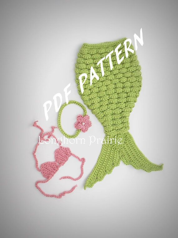 Mermaid Photography Prop Set Crochet Pattern Pdf Instant Download