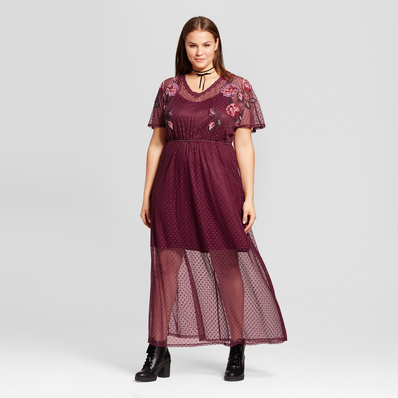 Xhilaration Womens Plus Size Mesh Embroidered Dress Rose Clothes