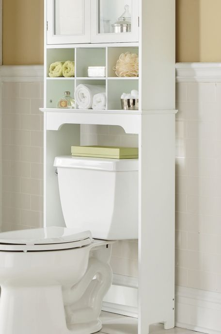 Six Cubby Space Saver Fits Over A Toilet To Greatly Increase Your Bathroom  Storage Space. It Has Open Cubbies And A Cabinet With Two Glass Panel Doors  And ...