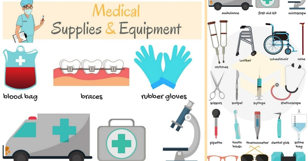Medical Supply List Of Medical Supplies And Equipment In English 11 In 2020 English Vocabulary Medical Supplies Learn English Vocabulary