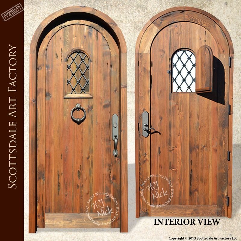 Arched Door with Speakeasy Portal Window custom wood door made in America features solid 3\