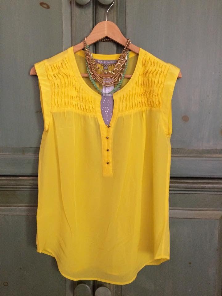 7baeb141a82f7 Yellow makes me happy...Daniel Rainn silk pintuck blouse Tovah, I'd ...