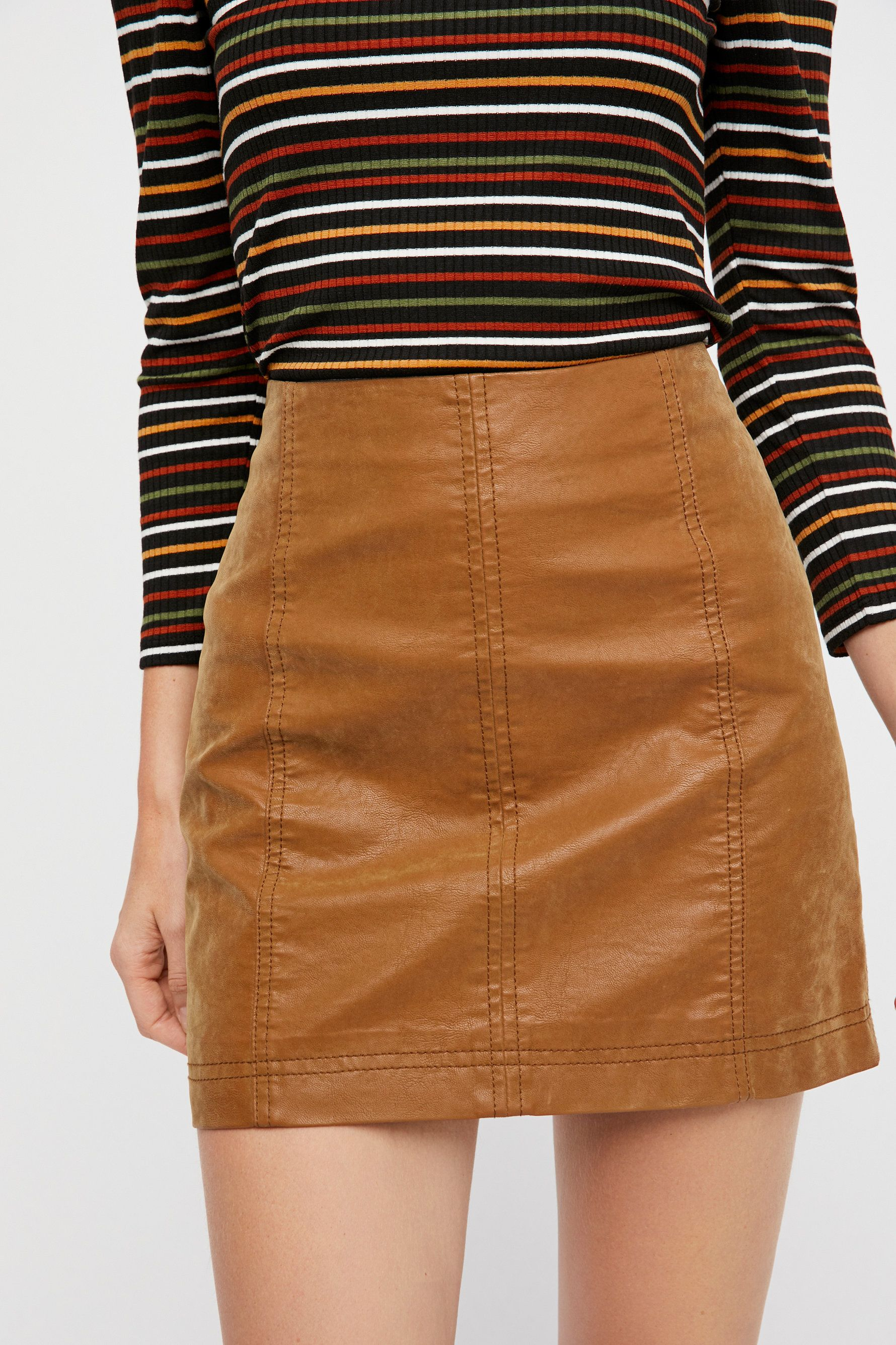 a4a79f1a7b6d05 Modern Femme Vegan Mini in chestnut Suede Mini Skirt, Leather Skirt,  Bohemian Skirt,