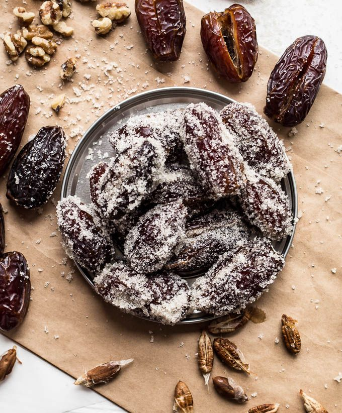 Sugared Walnut Stuffed Dates Gluten Free Vegan