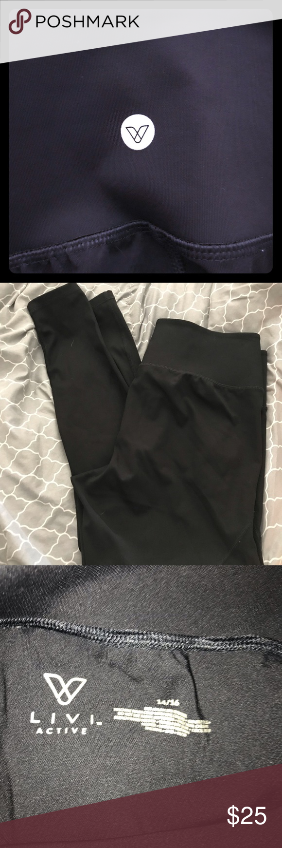 Livi Active Women S Plus Black Leggings Nwot Active