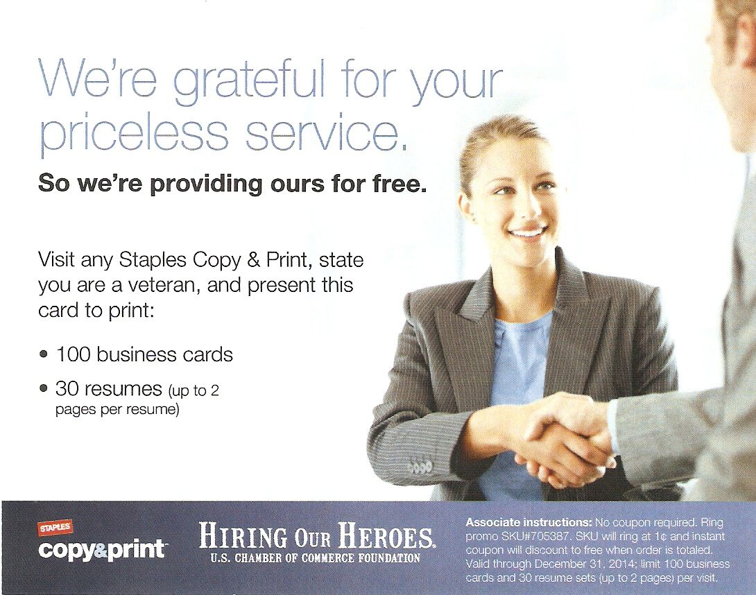 Through December 31 2014 Staples Is Offering Veterans The Ability