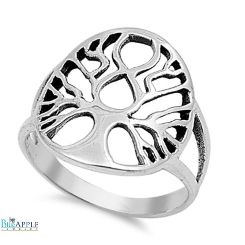 Oval Shape Tree of Life Ring Solid 925 Sterling Silver Tree of Life