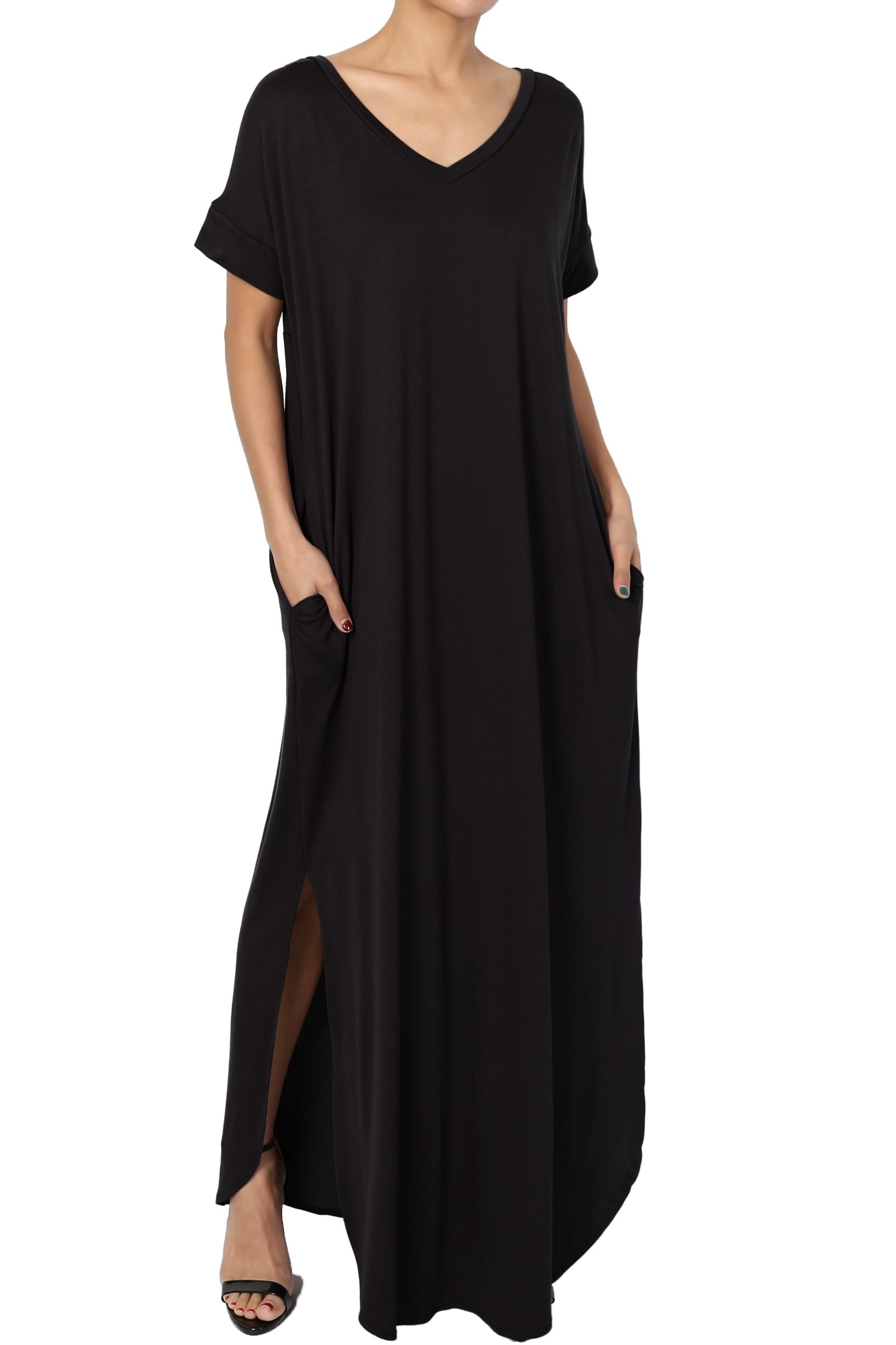 TheMogan Casual Short Sleeve Viscose Jersey Relaxed T-Shirt Slit Long Maxi Dress