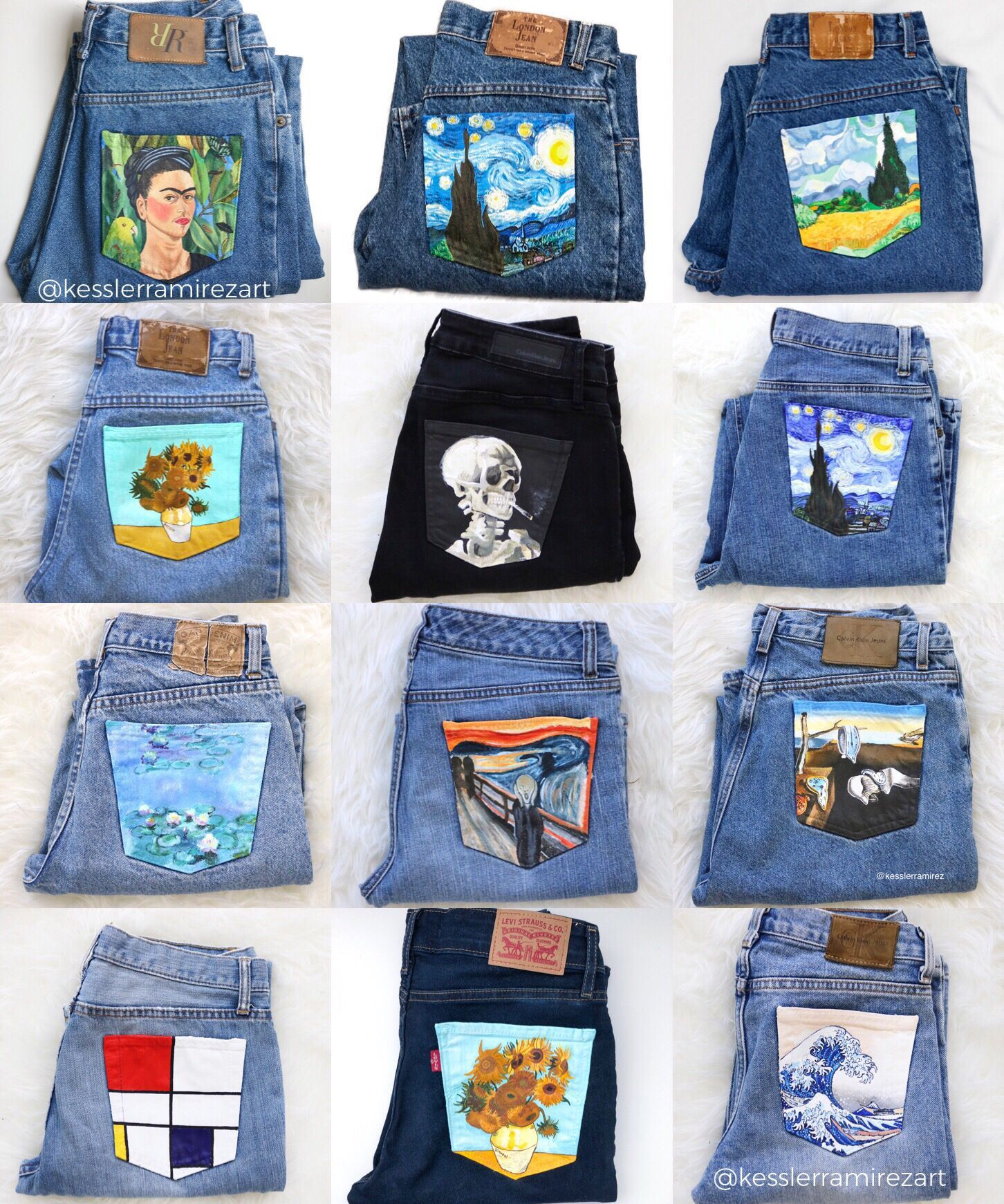 Collection of painted jeans by Kessler Ramirez #wearableart Painted jean pockets with artworks by Vincent Van Gogh, Claude Monet, Hokusai, Edward Munch, Piet Mondrian, and Salvador Dali. The Starry Night, Nympheas, Sunflowers, The Great Wave, Skull of a Skeleton with a Cigarette, and more. Painted fabric, fabric art, painted denim, painted jeans, fashion, art fashion, wearable art, painted pocket, denim, vintage jeans, outfit inspo, summer fashion, painted jeans diy. Kessler Ramirez Art.