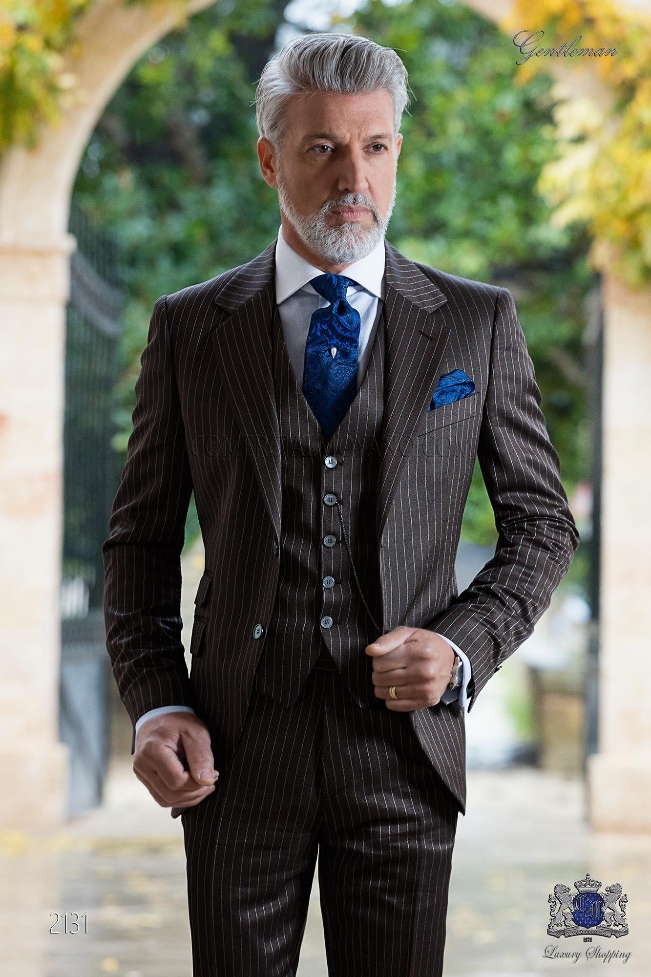 Costume de marié italien à fines rayures marron sur mesure ... 1518971220bb