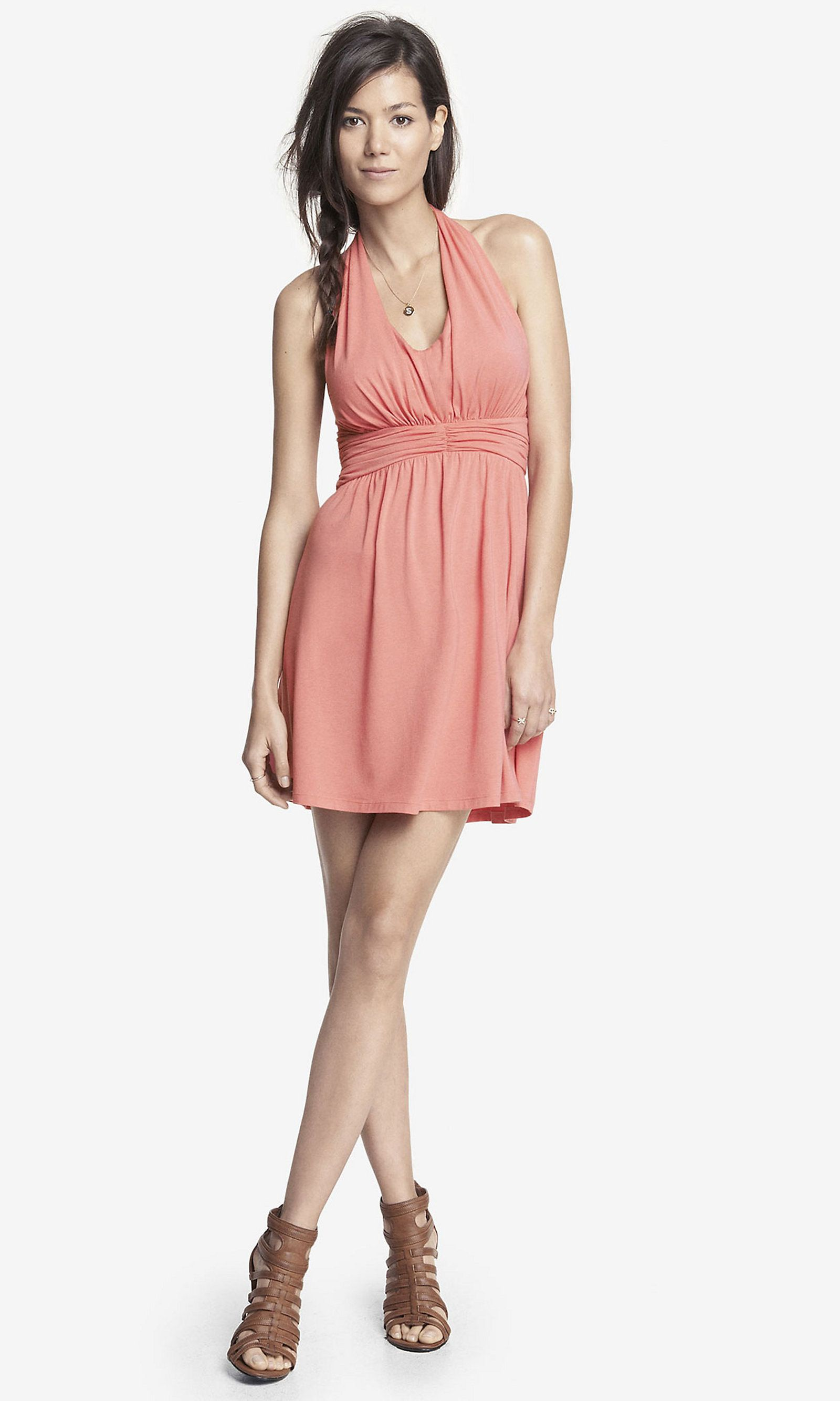 Light pink ruched jersey halter dress express if i had all the