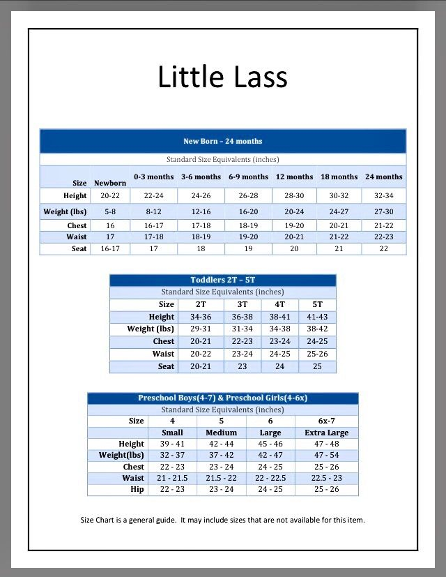 Little Lass Brand size Chart SIZE CHARTS FOR CHILDREN