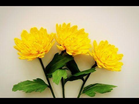 How to make chrysanthemum flower from crepe paper craft tutorial flower mightylinksfo