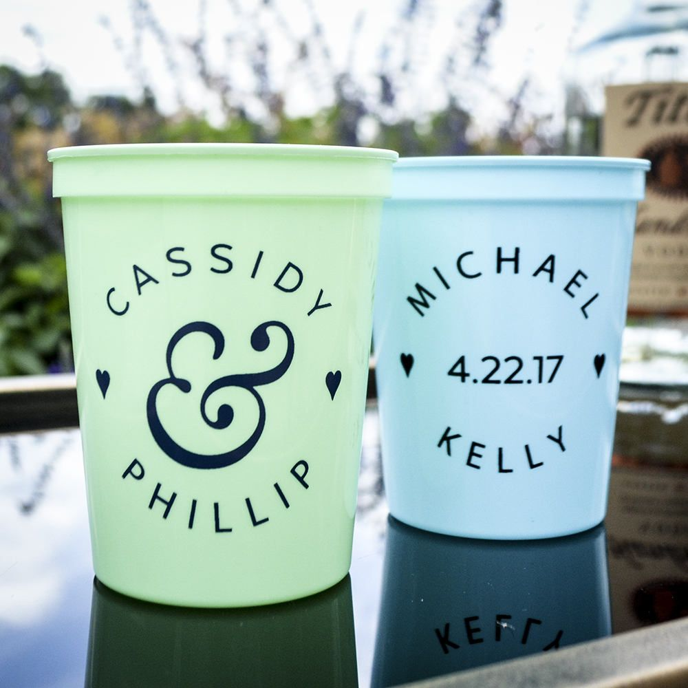 Personalized Plastic Cups For The Reception Practical Wedding