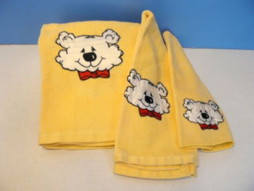 Vtg 1986 Thalhimers Snow Bear Set Yellow Towels Bath Hand