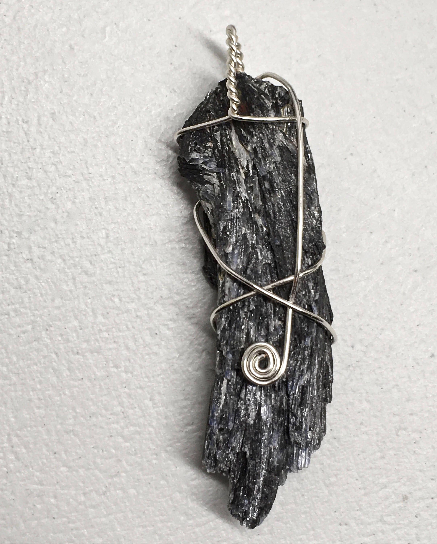 Crystal gemstone necklace pendant black kyanite handmade healing ...