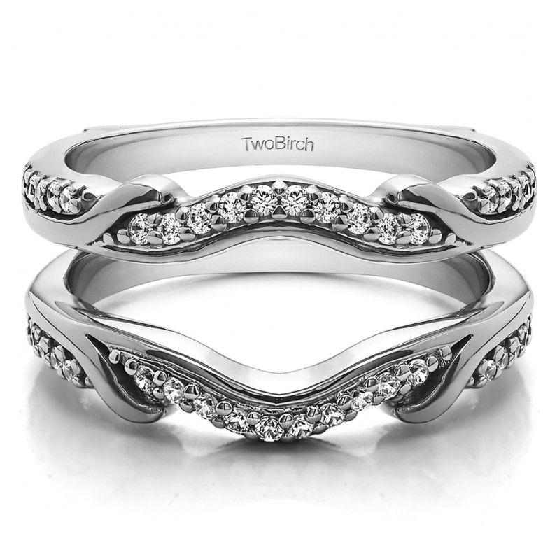diamonds contoured wedding ring jacket in white gold ctsize 3 sizes - Wedding Ring Jackets