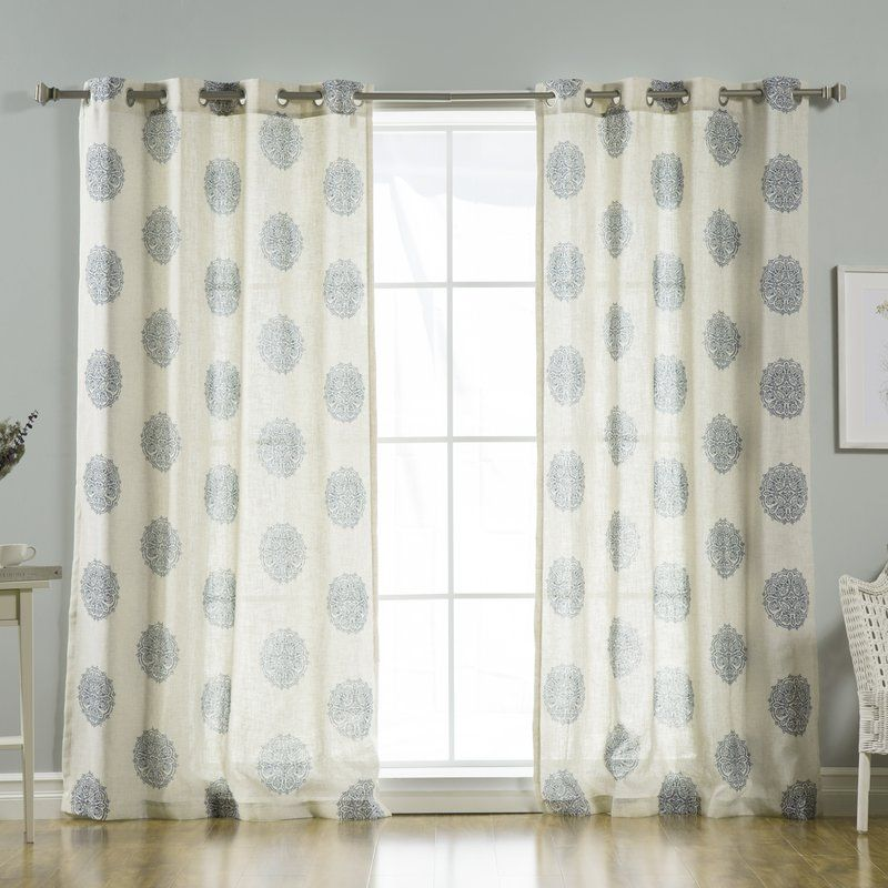 Carney Medallion Geometric Sheer Grommet Curtain Panels