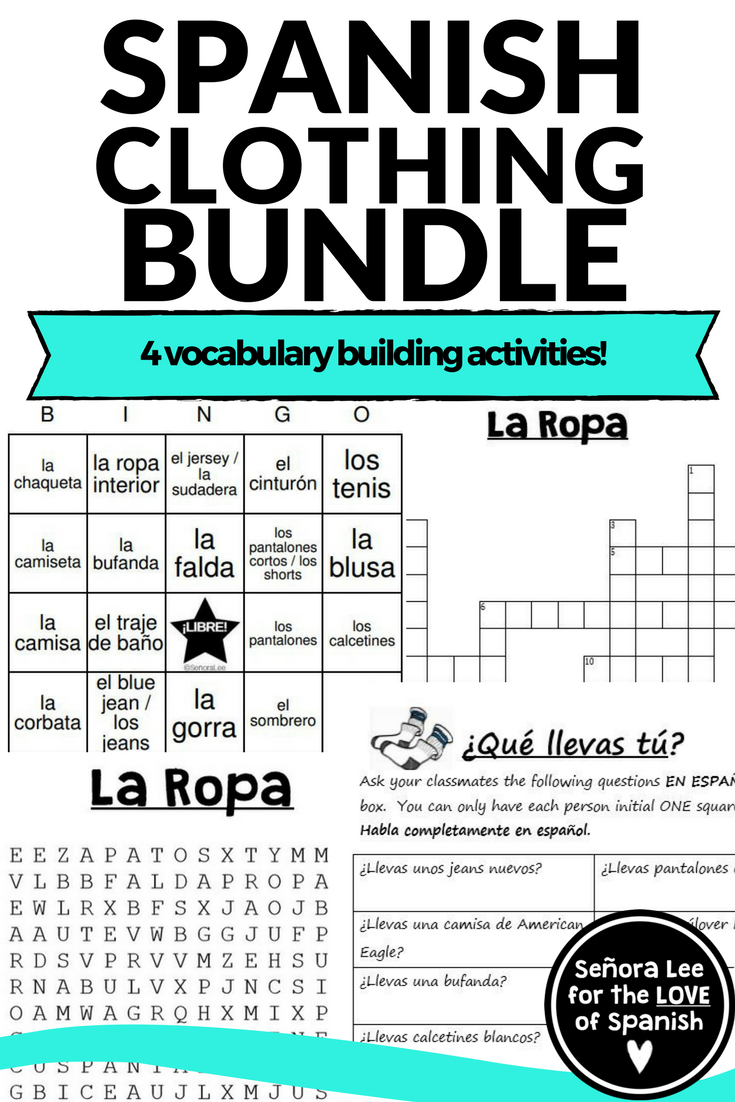 spanish clothing unit 4 activities with clothing vocabulary spanish for middle school. Black Bedroom Furniture Sets. Home Design Ideas