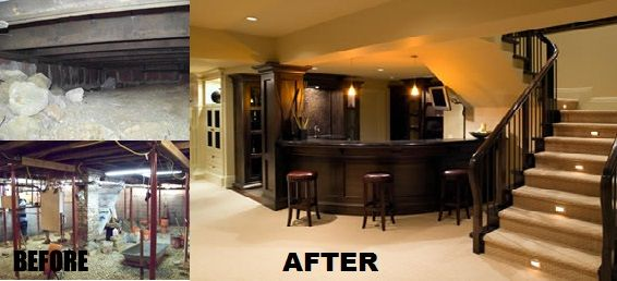 basement remodels before and after. Gorgeous Basement\u2013 Round Bar, Lights On The Stairs. Hubby\u0027s Mancave @ Do It Yourself Home Ideas Basement Remodels Before And After