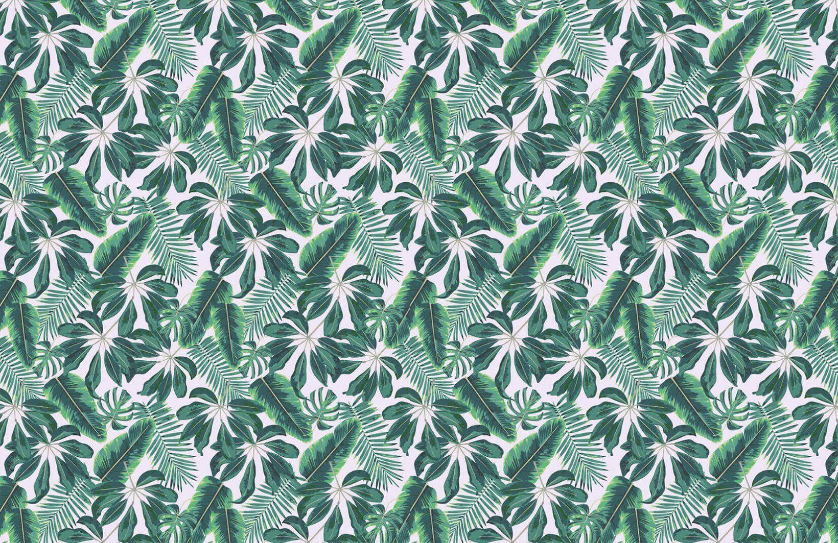 Mixed Tropical Leaves Wallpaper Фотообои, Обои и Интерьер
