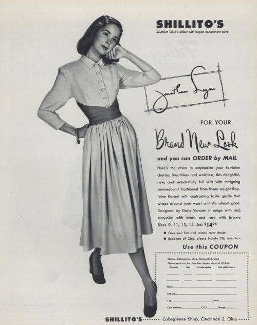 On Sale 1950s Fashion Advertisement Fashion Frocks 623 Navy Rockabilly Dress White Trim 1950 Fashion 1950s Fashion Vintage Dresses
