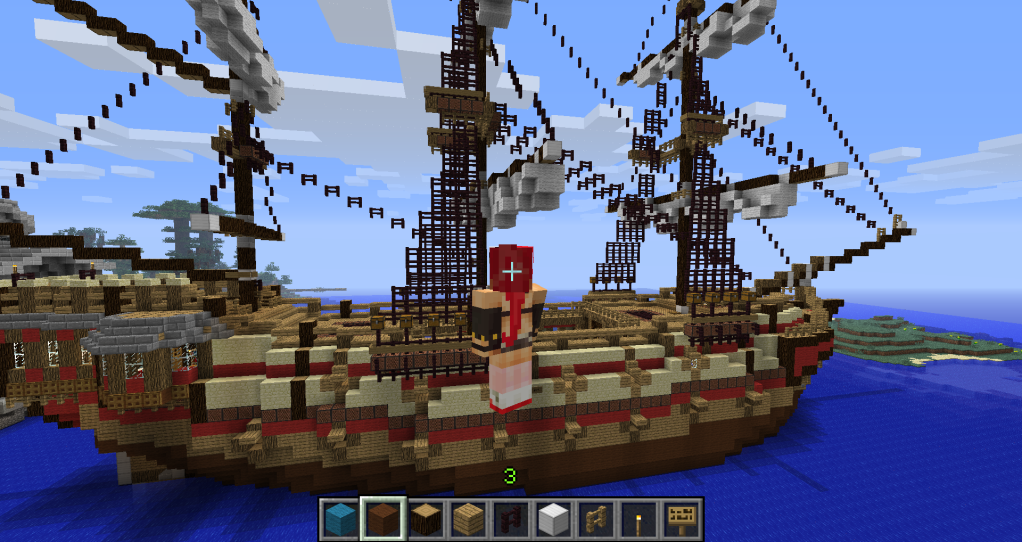 how to make a ship in minecraft