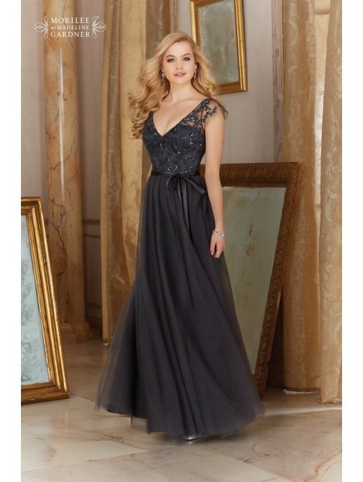Mori Lee 154 Tulle With Lace Top Dress Charcoal Grey