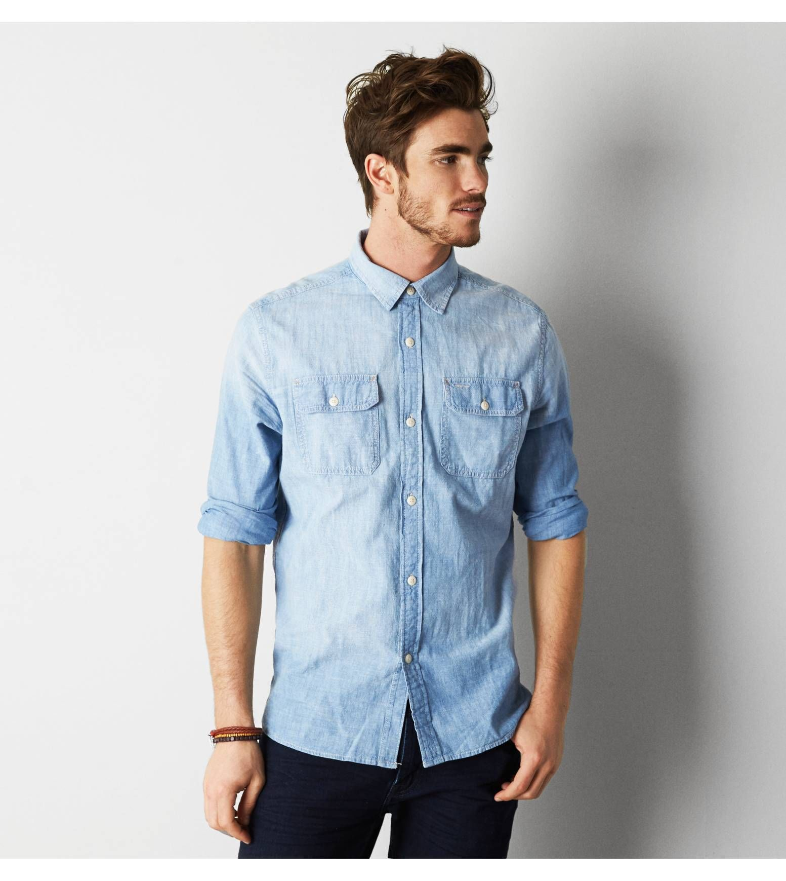 Light Blue AEO Denim Workwear Shirt. Show us your #AEOSTYLE on Instagram or  Twitter