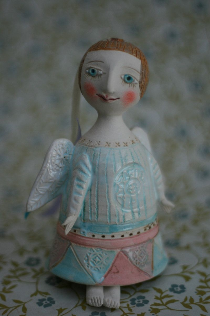 Angel. Bell-Doll, little ceramic sculpture. Hand made. $42.00, via Etsy.