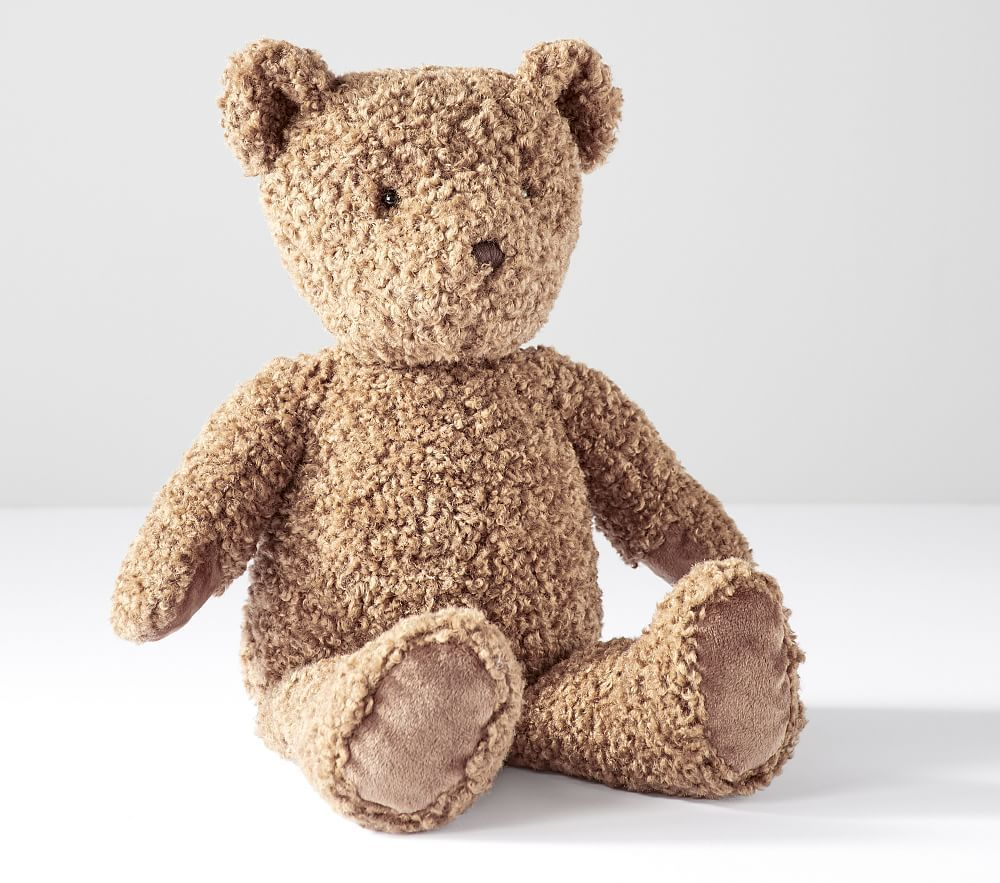 They'll love this classic teddy bear. Its warm caramel color and fuzzy fur will become their new BFF. Perfect for sleeptime and snuggles. DETAILS THAT MATTER Bear is made from 100% polyester and filled with polyester fibers. Eyes are plastic and the nose is embroidered. Hypoallergenic to protect against allergens and create a healthy sleep environment. KEY PRODUCT POINTS Pottery Barn Kids exclusive. Recommended for ages 1 year and up. Imported.