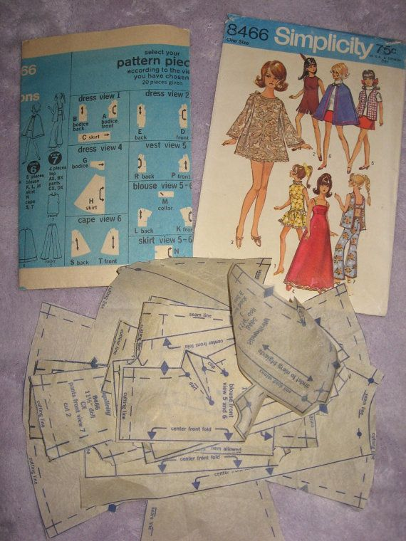 1960s Barbie Doll Clothes Pattern Simplicity 8466 by BlondiesSpot