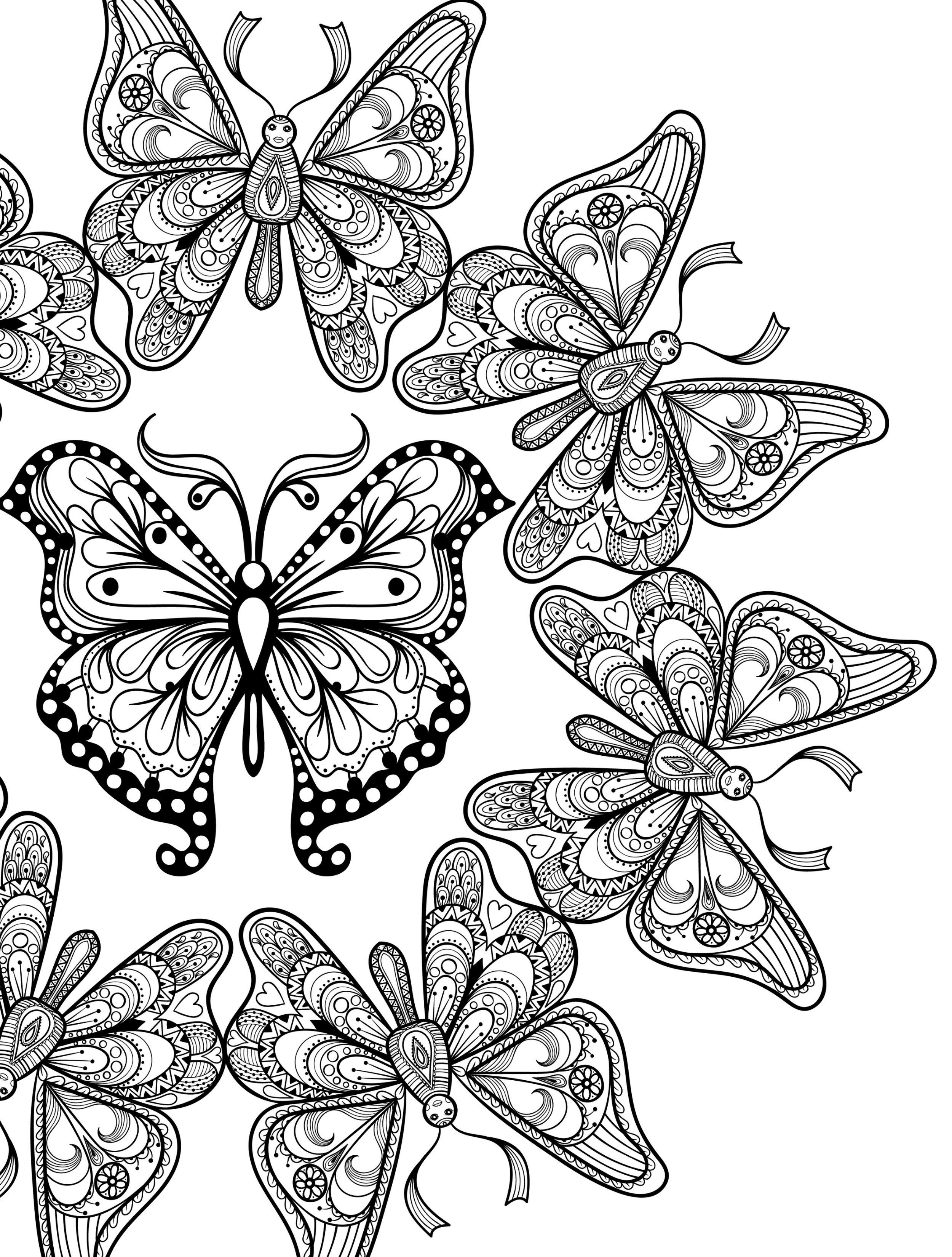 23 Free Printable Insect & Animal Adult Coloring Pages | Butterflies ...