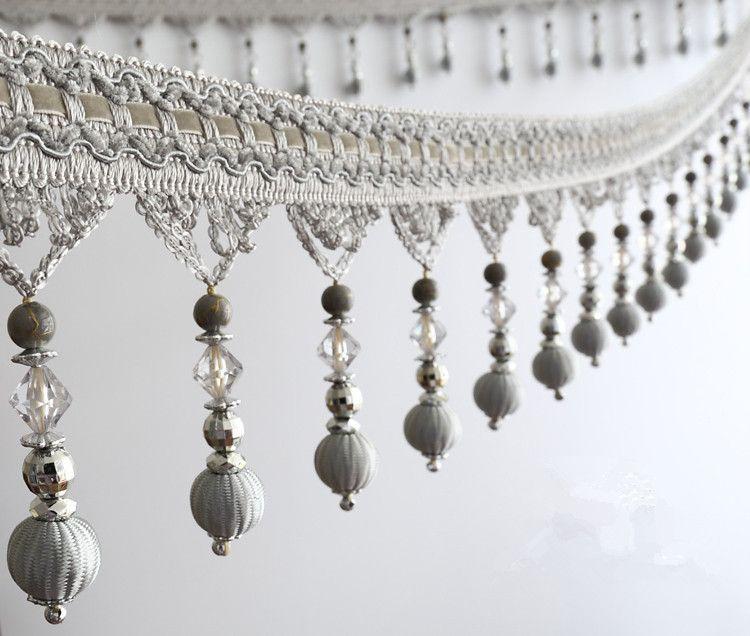 12yards Lot European Curtain Accessories Cross Beads Lace Tassel