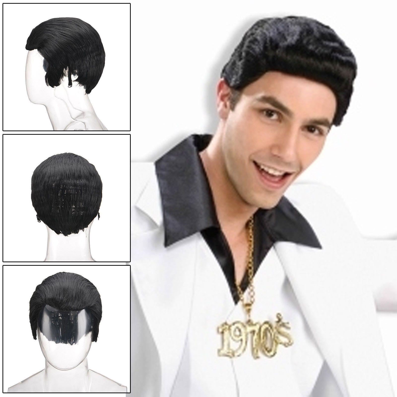 Boy hairstyle wigs mens s black greaser wig adult teddy boy danny quiff elvis fancy