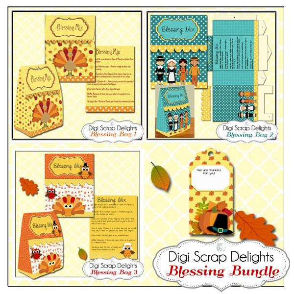 thanksgiving blessing mix printable gift bag bundle 3 easy topper treat bags and thanksgiving tag in owls turkey pilgrim indian get three