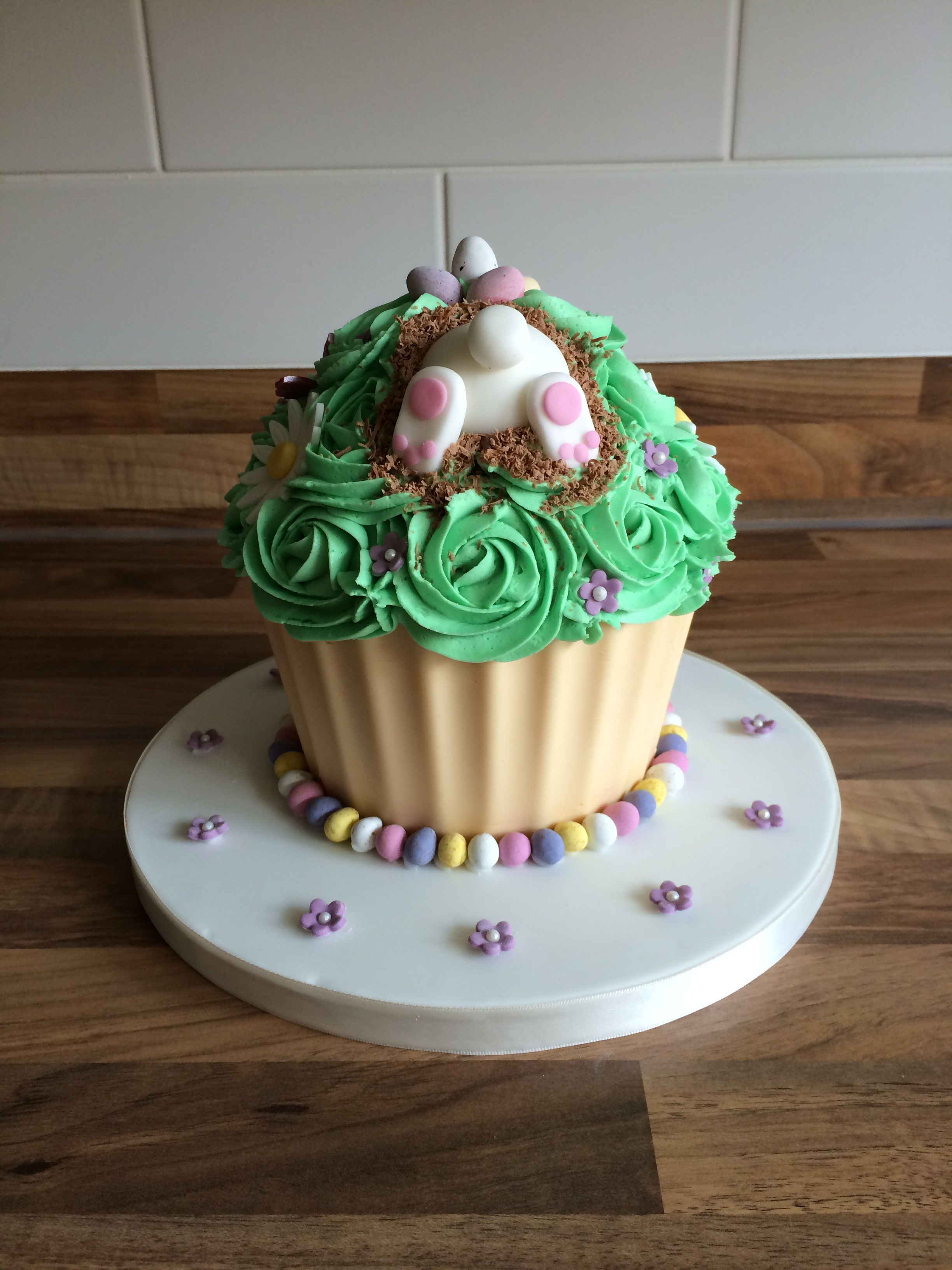 Easter Bunny Themed Giant Cupcake Giant Cupcake Cakes Big Cupcake Giant Cupcakes