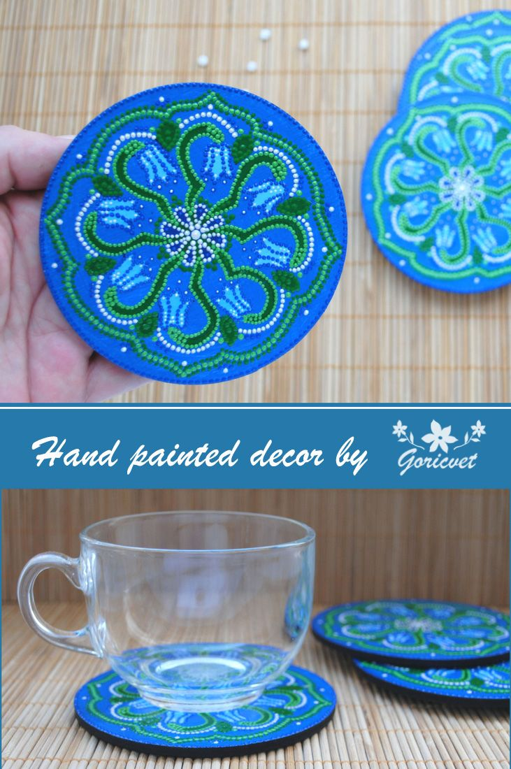 Hand painted coasters with flowers #coasters #kitchen #pointtopoint ...