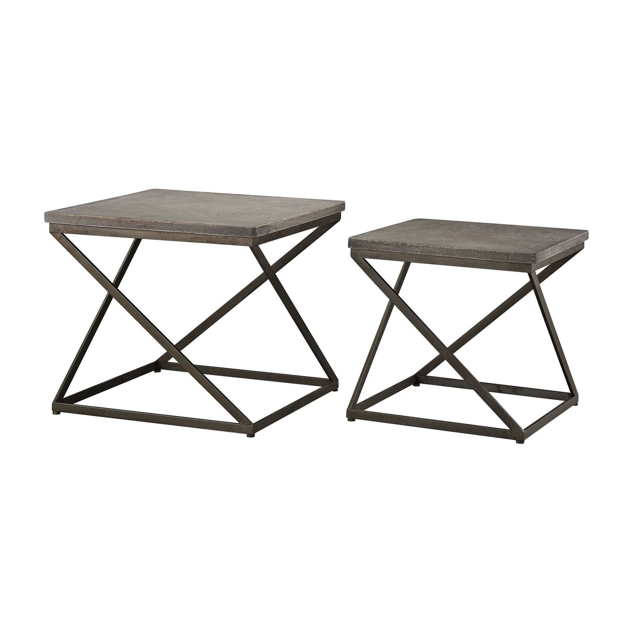 Moya Aged Iron Accent Tables (Set Of 2)