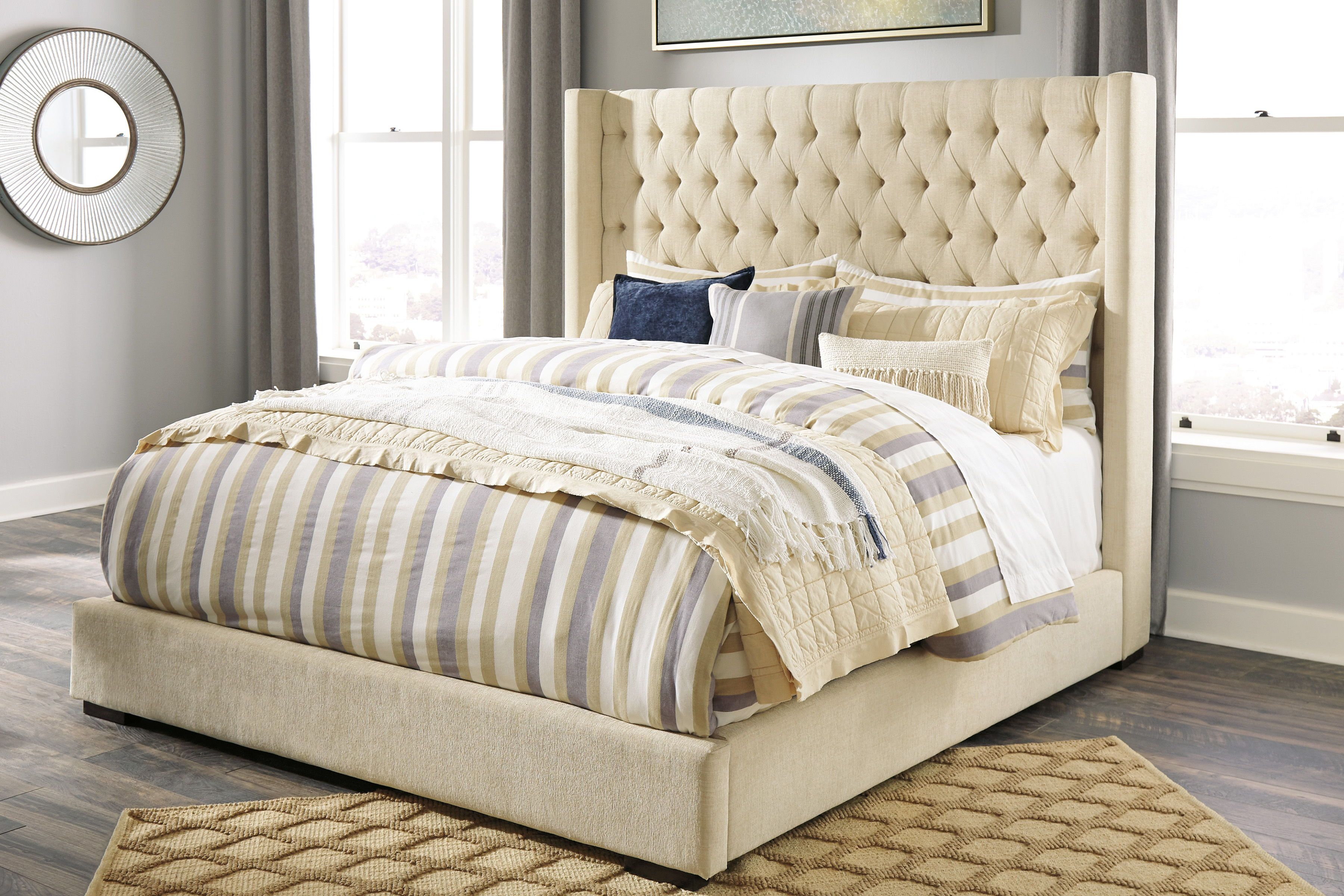 Norrister Beige King UPH Bed Queen upholstered bed