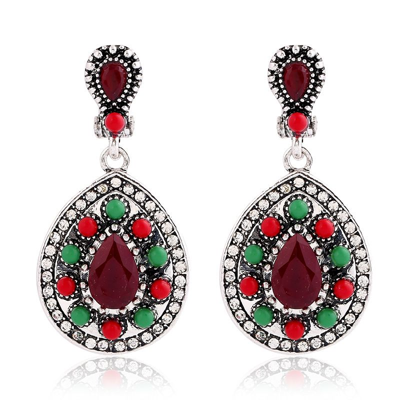Find More Drop Earrings Information about Boho Chic Statement Green and Red Beads Teardrop Earrings Silver Tone Clear Crystal Studded Mosaic Dangle Earring Tribal Jewelry,High Quality dangle earrings,China teardrop earrings silver Suppliers, Cheap teardrop earrings from Dreamland Dresses & Accessories on Aliexpress.com