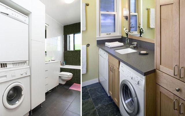 Distribuci n de lavadora y secadora en el ba o para casas - Lavadora secadora pequena ...