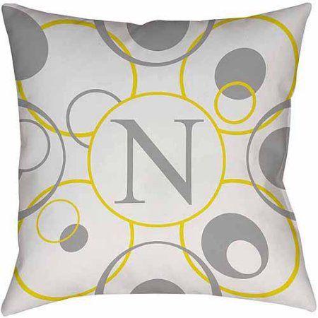 Thumbprintz Circle Variations Monogram Yellow Decorative Pillows Enchanting Yellow Decorative Bed Pillows