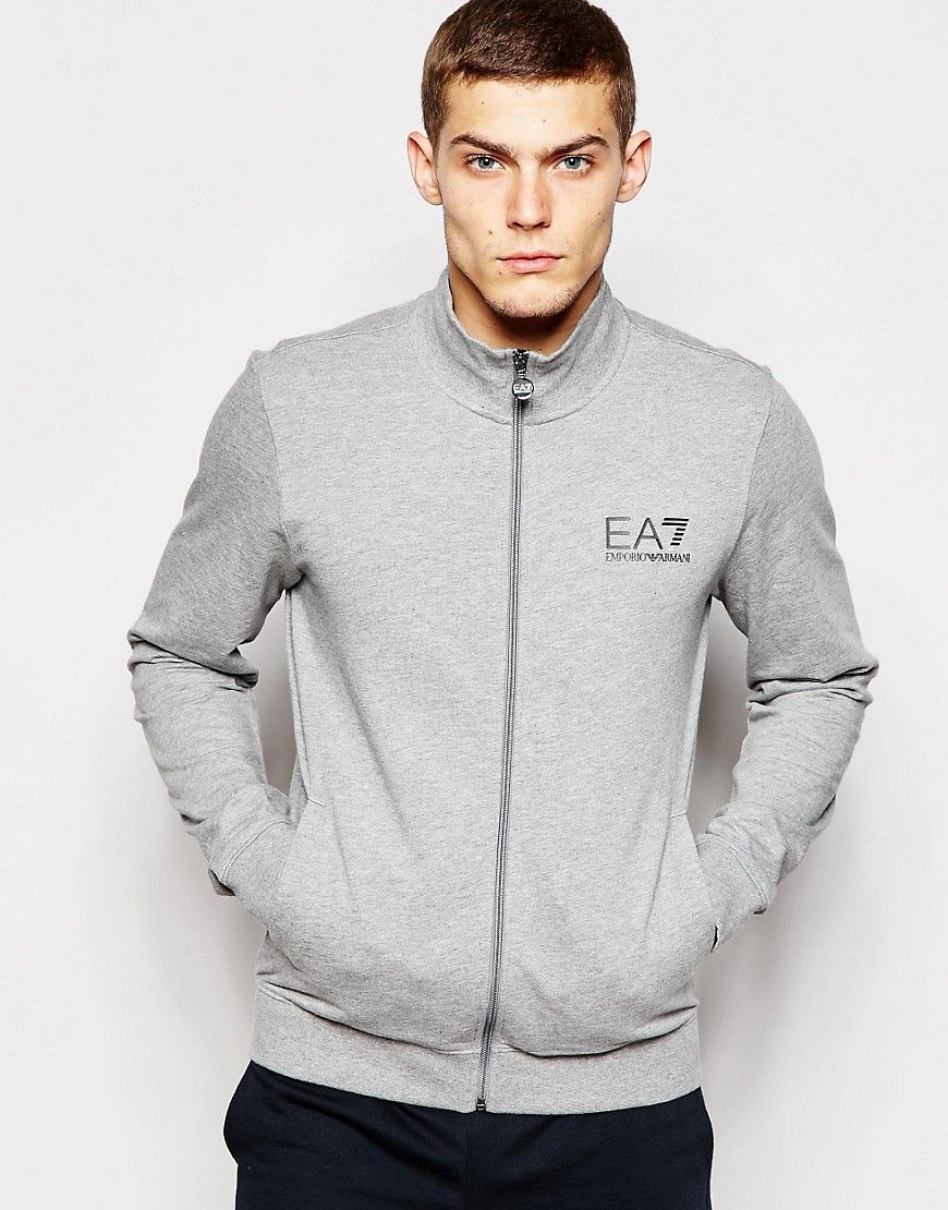 d8fa036185f Emporio Armani EA7 Zip Up Sweatshirt with Chest Logo Print saved by   ShoppingIS