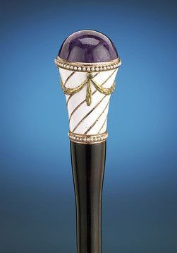 A stunning purple amethyst tops this elegant walking stick by Faberge ~ M.S. Rau Antiques