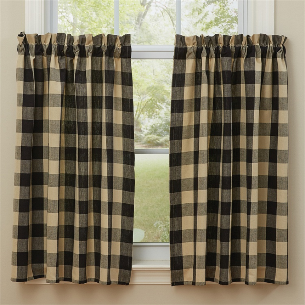 Black Tan Check Lined Tier Curtains Berry Gingham Park Designs Country Farmhouse