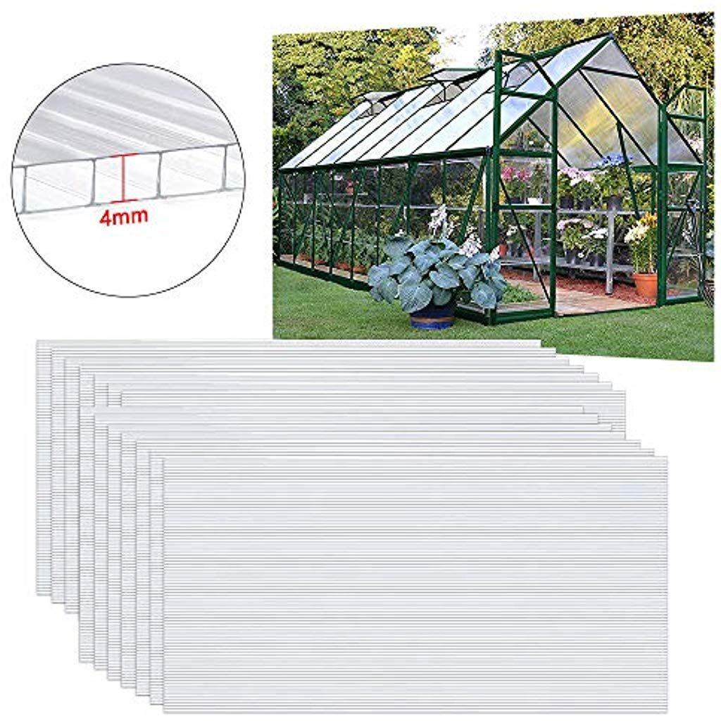 Uisebrt 14 Plaques Alveolaires En Polycarbonate 4 Mm Plaques A Double Paroi 1025 M 605 X 121 Cm Plaques Resistantes Aux Uv Et Adapt Paroi Jardins Polycarbonate
