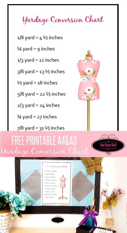 Yardage Conversion Chart Free Printable | Costura, Consejos para ...