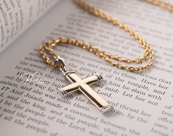 6722a7981 Mens Cross Necklace 14K Solid Gold Chain Cross Necklace Gold Cross Pendant  Necklace Gold Cross and Chain Necklace Solid Gold BloomDiamonds